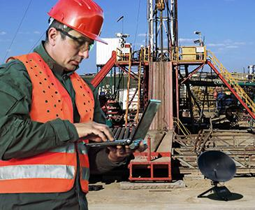 Using satellite at oil construction site